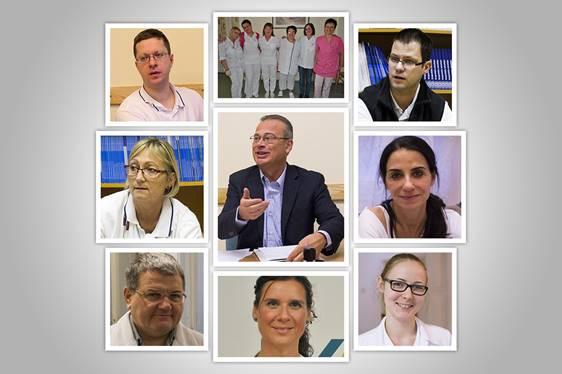 A kitüntetett onkológiai centrum orvosai és az ápolók egy csoportja